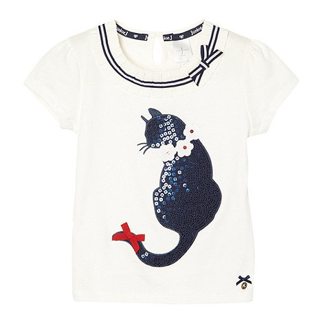 J by Jasper Conran - Designer babies off white sequin cat top