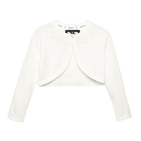 J by Jasper Conran - Designer girl+s cream applique flower cardigan