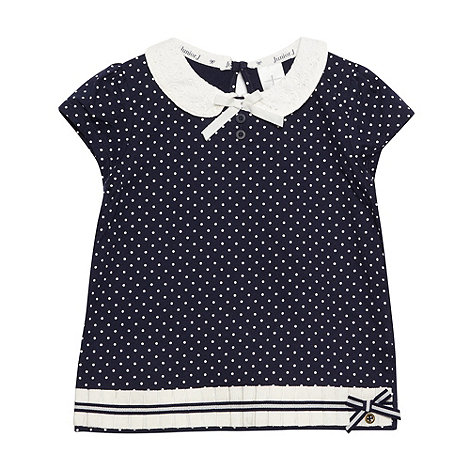 J by Jasper Conran - Designer girl's navy spotted broderie collar t-shirt