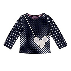 bluezoo - Girls' navy mouse applique top