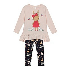 bluezoo - Girls' pink bunny applique top and leggings set