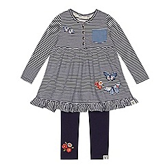 Mantaray - Girls' navy striped dress and leggings set