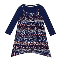Mantaray - Girls' navy Floral dress and t-shirt set