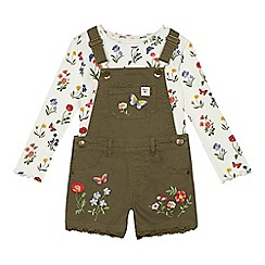 Mantaray - Girls' khaki floral print dungarees and top set