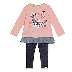 Mantaray - Girls' pink butterfly applique tunic and leggings set