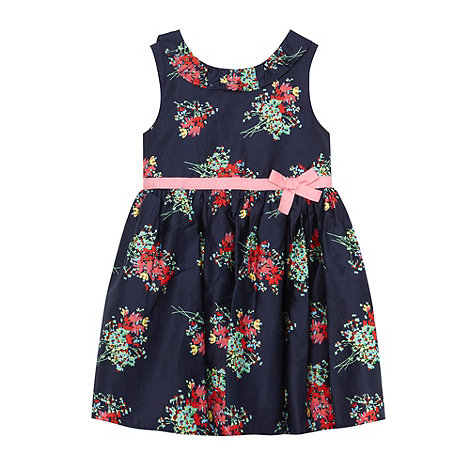 RJR.John Rocha - Designer girl+s navy floral printed dress