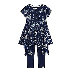 Mantaray - Girls' navy butterfly print dress and leggings set