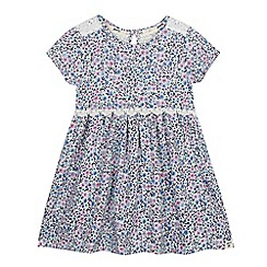 Mantaray - Girls' pale blue jersey ditsy print dress
