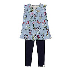 Mantaray - Girls' blue striped floral print top and navy leggings set