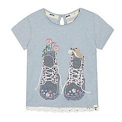 Mantaray - Girls' blue boot applique t-shirt