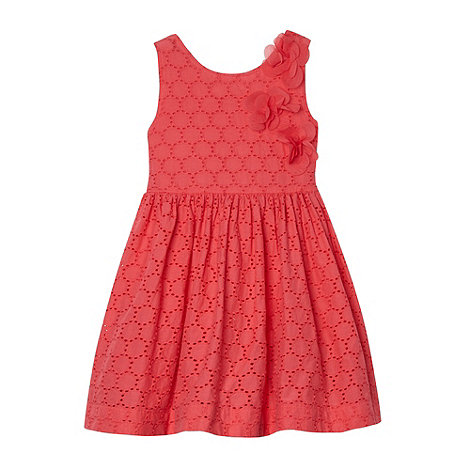 RJR.John Rocha - Designer girl+s coral broderie dress