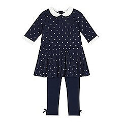 J by Jasper Conran - Girls' navy dotty tunic and leggings set