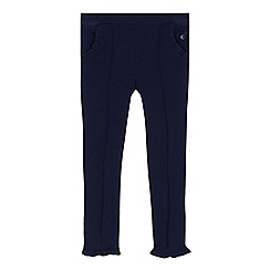 J by Jasper Conran - Girls' navy frill trim leggings