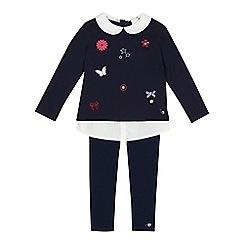 J by Jasper Conran - Girls' navy mock badge top and leggings set