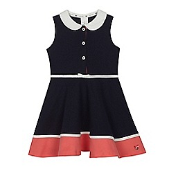 J by Jasper Conran - Girls' navy jersey Peter Pan collar dress