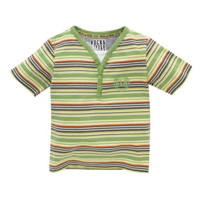 Green y-neck striped t-shirt