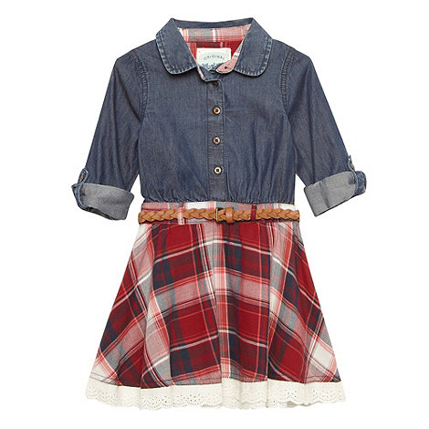 Mantaray - Girl+s red checked skirt shirt dress