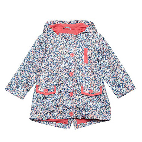 Mantaray - Girl+s dark blue floral hooded mac coat