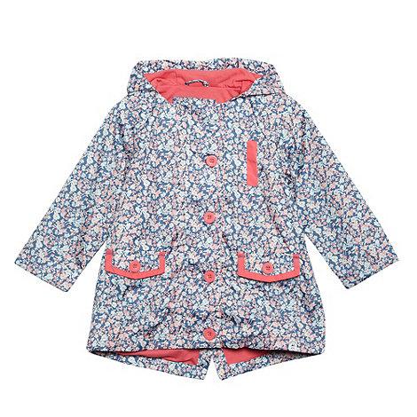 Mantaray - Girl+s dark blue floral hooded mac coat