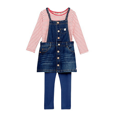 Mantaray - Girl+s blue striped denim three piece dress set