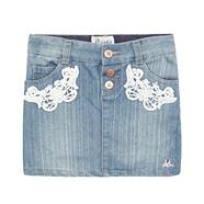 Girl's blue denim lace skirt