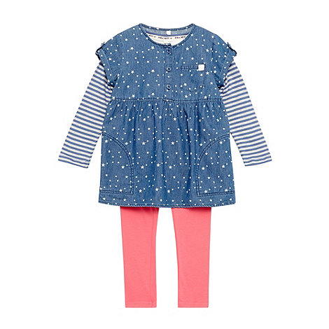Mantaray - Girl+s blue striped stars chambray three piece dress set