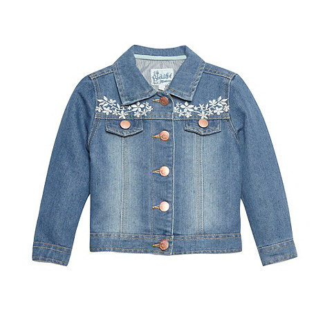 Mantaray - Girl+s blue floral embroidered denim jacket
