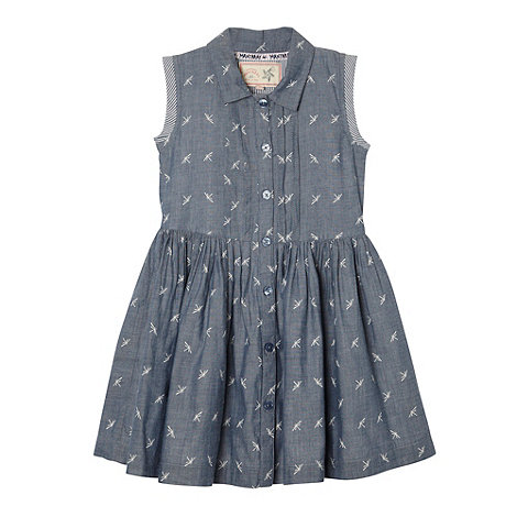 Mantaray - Girl+s blue dragonfly chambray shirt dress