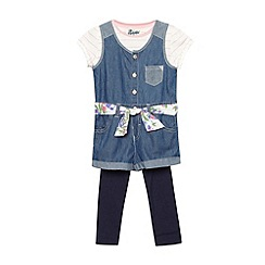 Mantaray - Girl's blue denim playsuit with t-shirt and leggings