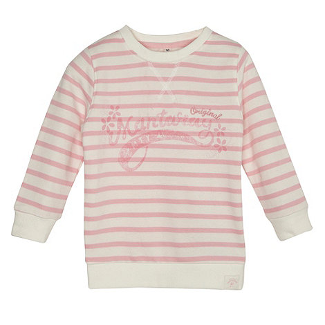 Mantaray - Girl+s pink striped logo sweat top