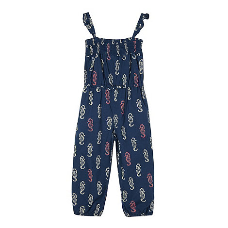 Mantaray - Girl+s navy seahorse printed jumpsuit
