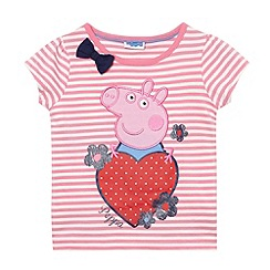 Peppa Pig - Girl's pink striped embroidered heart top