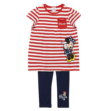 Disney - Girl's red 'Minnie Mouse' striped tunic and leggings set
