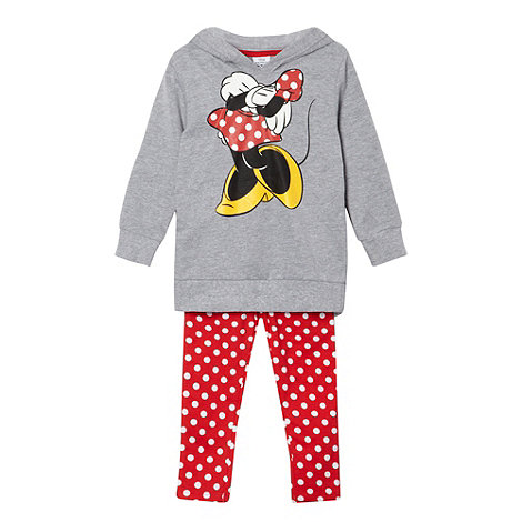 Disney - Girl's grey 'Minnie Mouse' sweat hoodie and leggings set