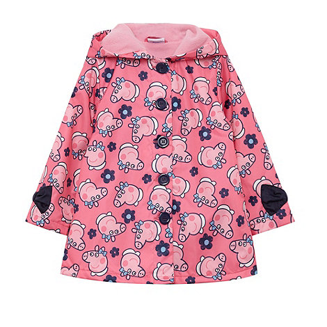 Peppa Pig - Girl+s pink +Peppa Pig+ print shower proof coat