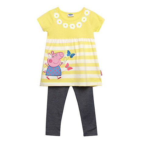 Peppa Pig - Girl+s yellow striped +Peppa Pig+ top with leggings
