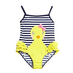 bluezoo - Girl's navy striped duck swimsuit