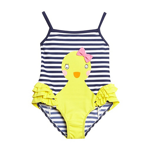 bluezoo - Girl+s navy striped duck swimsuit