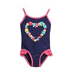 bluezoo - Girl's navy flower heart swimsuit