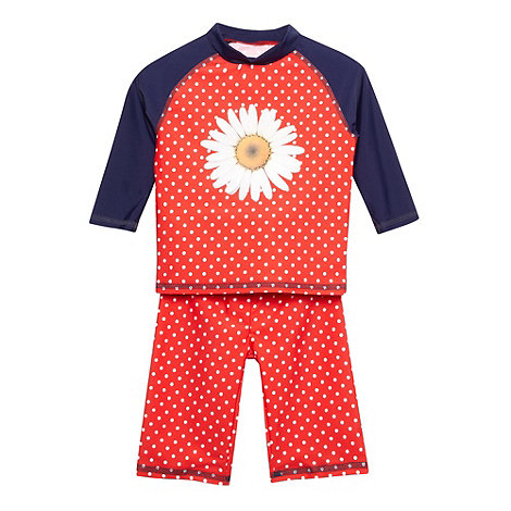 bluezoo - Girl+s red daisy print swim top and bottoms set