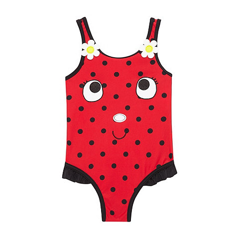 bluezoo - Girl+s red spotted ladybird swimsuit