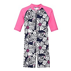 bluezoo - Girl's navy neon floral sun safe