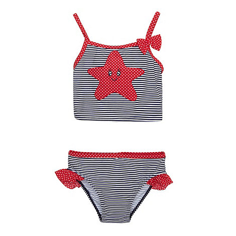 bluezoo - Girl+s navy striped starfish bikini