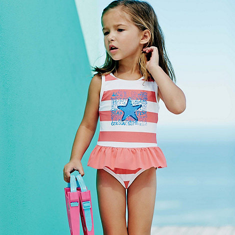 Mantaray - Girl+s peach striped starfish print swimsuit