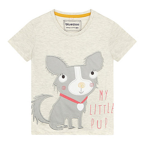 bluezoo - Girl+s natural dog applique t-shirt