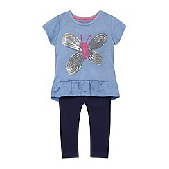 bluezoo - Girl's blue sequin butterfly t-shirt and leggings set