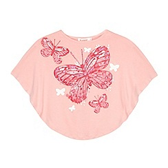 bluezoo - Girl's pink butterfly printed cape t-shirt