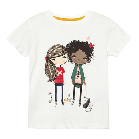 bluezoo - Girl+s white graphic girl t-shirt