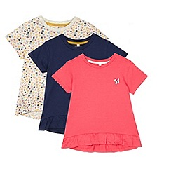 bluezoo - Pack of three girl's pink navy and grey floral peplum t-shirts