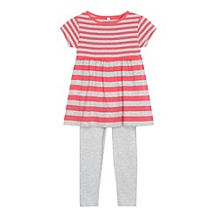 bluezoo - Girl's grey striped tunic and leggings set